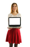 Beautiful student girl  with laptop Royalty Free Stock Photo