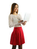 Beautiful student girl  with laptop Stock Photo