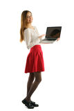 Beautiful student girl  with laptop Royalty Free Stock Image