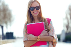 Beautiful Student Girl Looking At Camera In The Street. Stock Images
