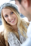 Beautiful student girl with schoolmate Royalty Free Stock Photo