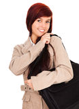 Beautiful student girl smiling, holding big bag Stock Photos
