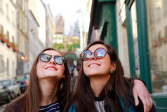 Beautiful student girls in Paris Royalty Free Stock Photo