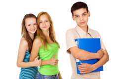 Beautiful student with her girlfriends Stock Image