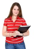 Beautiful student with her notebook Royalty Free Stock Image
