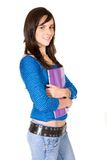 Beautiful student hugging a notebook Royalty Free Stock Image