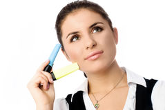 Beautiful student with markers Stock Photography