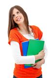 Beautiful student with notebooks Royalty Free Stock Photos