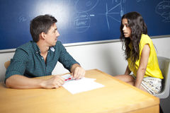 Beautiful student during oral examination Stock Photography