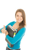 Beautiful student shows thumb up Royalty Free Stock Photo
