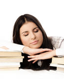 Beautiful student sleeping on the books Royalty Free Stock Photos
