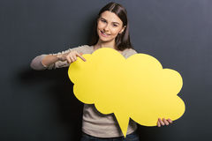 Beautiful student with speech bubble royalty free stock image