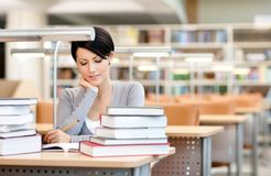 Beautiful student studies Stock Photo