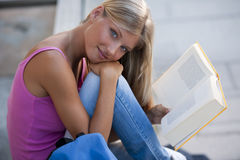 Beautiful student studying outdoors Royalty Free Stock Photography