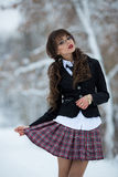 Sexual, beautiful, attractive, seductive student, school girl held checkered skirt. Beautiful, sexy, sexual, smart teacher, student, teacher, schoolgirl, girl royalty free stock images