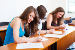 Beautiful Student During Test Stock Photography