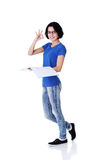 Beautiful student woman gesturing perfect. Royalty Free Stock Photography