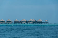Beautiful stunning Water bungalow in the sea in Maldives Royalty Free Stock Photos