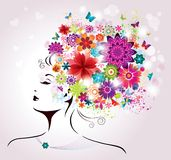 Beautiful style Woman with Flowers and Butterflies. Stock Images
