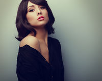 Beautiful style woman in shirt with black short hair. Vintage portrait Royalty Free Stock Photography
