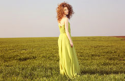 Beautiful styled woman with a long green dress on fields Stock Photos