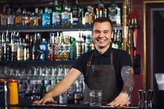 Beautiful stylish bartender Stock Photos