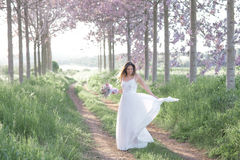 Beautiful stylish bride in a wedding dress dancing in a spring forest . Beautiful attractive young bride in a wedding dress in a spring forest royalty free stock images