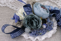Beautiful stylish brooch. Made of fabric and lace Royalty Free Stock Image