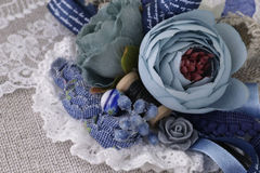 Beautiful stylish brooch made. Of fabric and lace Royalty Free Stock Image
