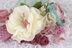 Beautiful stylish brooch. Brooch made of flowers made of fabric and lace Stock Photo