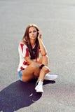 Beautiful stylish brunette woman outdoor portrait Stock Photos