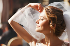 Beautiful stylish caucasian happy romantic young blonde bride Royalty Free Stock Image