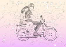 Beautiful stylish couple in love riding a motorbike, moped through the clouds and stars in the night vanilla sky. Vector stylish young couple on a motorcycle Royalty Free Stock Image