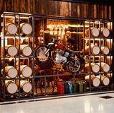 Stylish exterior decoration of a beer bar isolated unique photo. A beautiful stylish decoration of a beer bar isolated object unique photograph royalty free stock photography