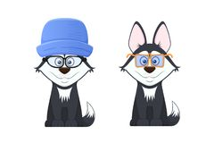 Beautiful stylish dogs with emotions of smile, with optical glasses. Beautiful stylish dogs with emotions of a smile in the expression of face, with colorful Stock Photos