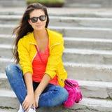 Beautiful stylish fashion girl outdoor portrait Royalty Free Stock Photos