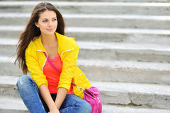 Beautiful stylish fashion girl outdoor portrait Stock Photography