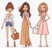 Beautiful and stylish fashion girl set. stock illustration