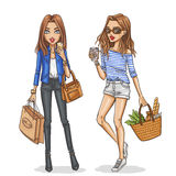 Beautiful and stylish fashion girls. vector illustration