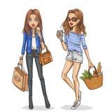 Beautiful and stylish fashion girls. Royalty Free Stock Photo