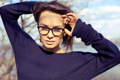 Beautiful stylish fashion model girl wearing glasses Stock Photography