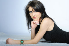 Beautiful stylish girl with additional lash Stock Photo