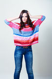 Girl in fashion stylish jeans Royalty Free Stock Photography