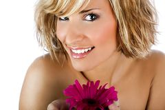 Beautiful and stylish girl with flower on white. Background stock photo