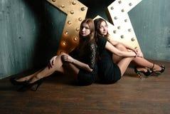 Beautiful stylish girl-friends stock image