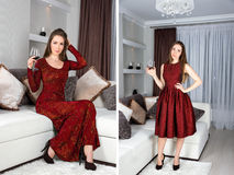 Beautiful stylish girl with long hair in luxury interior posing in stunning evening dress with glass of red wine in her hand. Read Stock Photography