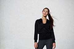 Beautiful stylish girl model posing in sportswear Royalty Free Stock Images