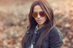Beautiful stylish girl outdoor portrait Royalty Free Stock Images