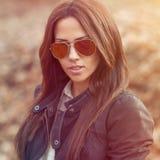 Beautiful stylish girl outdoor portrait Stock Image