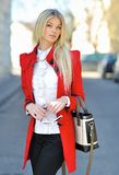 Beautiful stylish girl outdoor portrait stock photos